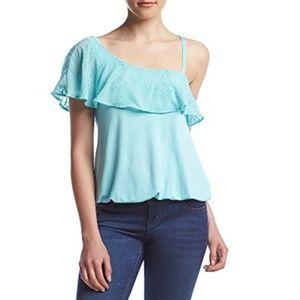 One Shoulder Terqoise Top Aqua Blue Shirt Blouse